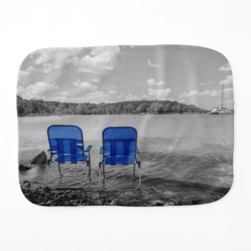 Beach Themed Perfect Day At The Lake Grayscale Baby Burp Cloth