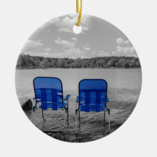 Perfect Day At The Lake Grayscale Ceramic Ornament