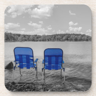 Perfect Day At The Lake Grayscale Drink Coaster