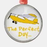 Perfect day flying airplane christmas ornaments