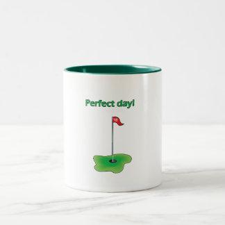 Perfect Day! Golf Design Two-Tone Coffee Mug