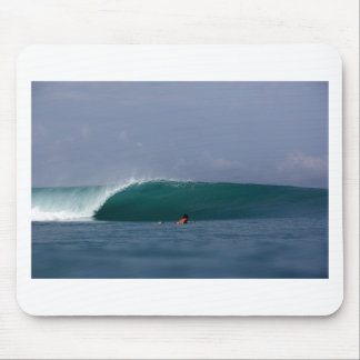 Perfect green surfing wave mouse pad