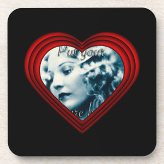 Perfect Heart Photo Frame Template Beverage Coaster