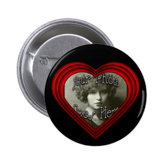 Perfect Heart Photo Frame Template Pinback Button