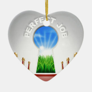 Perfect Job conceptual illustration Double-Sided Heart Ceramic Christmas Ornament