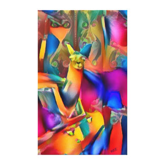 Perfect Llama Ride Abstract Oil On Canvas