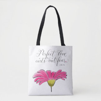 Perfect Love handwritten verse typography Tote Bag