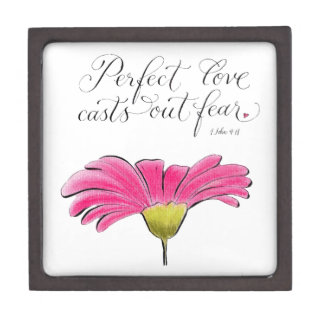 Perfect love pink daisy inspirational love quote gift box