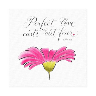 Perfect Love pink daisy inspirational typography Canvas Print