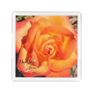 Perfect Moment Orange Rose Monograms Serving Tray
