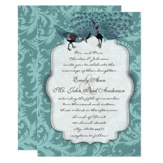 Perfect Pair Sea Blue Damask Peacock Elegance Card