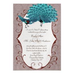 Perfect Pair Teal & Mink Damask Peacock Card