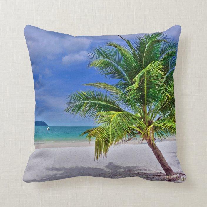 Perfect Palm Tree Tropical Island Beach Throw Pillow Zazzle Com