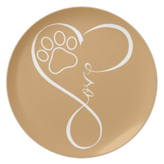 Perfect PAW Heartbeat Cat Dog Love Melamine Plate