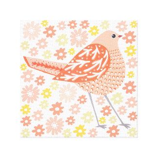 """Perfect Peach Bird Canvas 12""""x12"""" Canvas Print"""