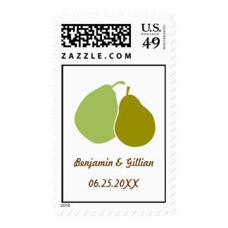 Perfect pear green monogram wedding RSVP postage