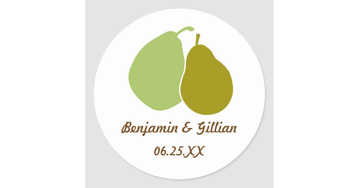 Perfect Pear Green Wedding Favor Name Tag Label Zazzle