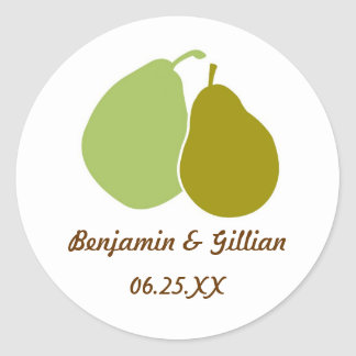Perfect pear green wedding favor name tag label classic round sticker