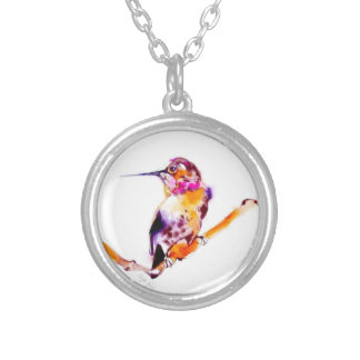 """Perfect Perch"" Hummingbird Print Silver Plated Necklace"
