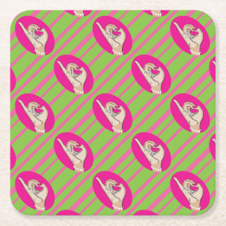 Perfect Pink and Green Forever Square Paper Coaster