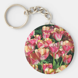 Perfect Pink and Peach Tulips Keychain