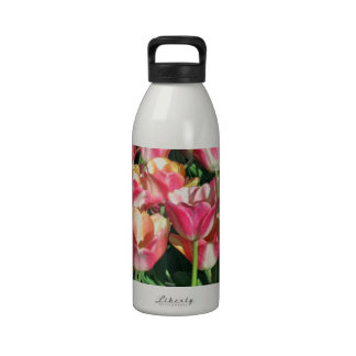 Perfect Pink and Peach Tulips Reusable Water Bottles