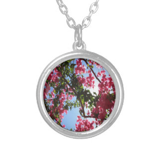Perfect Pink Bougainvillea In Blossom Silver Plated Necklace