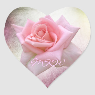 Perfect Pink Rose Monogram Heart Sticker