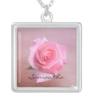 Perfect Pink Rose Personalized Name Necklace