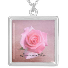 Perfect Pink Rose Personalized Name Necklace at Zazzle