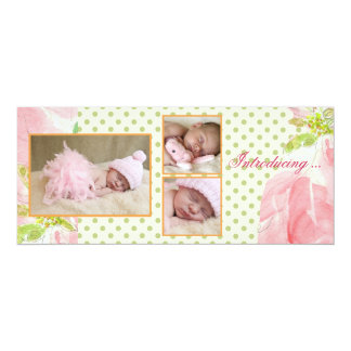Perfect Pink Triple Photo Birth Announcement