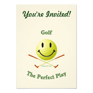Perfect Play Golf Smiley 5x7 Paper Invitation Card