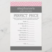Perfect Price Game - Pink Chevrons Baby Shower