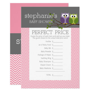 Perfect Price - Shower Games Pink Cute Owls Girl Card