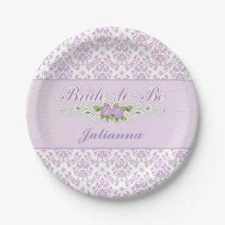 perfect purple damask pattern bridal shower paper plate