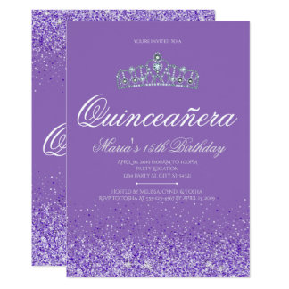 Perfect Purple Glitter, Quinceanera Invitations