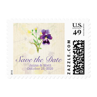 Perfect Purple Pansies Save the Date Postage
