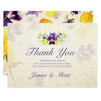 Perfect Purple Pansies Thank You Cards
