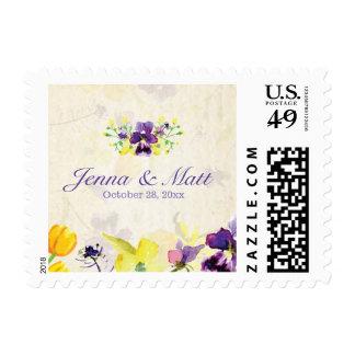 Perfect Purple Pansies Wedding Postage