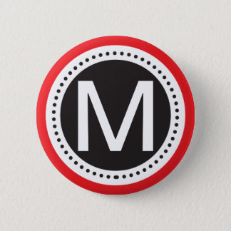 Perfect Red and white Monogram Button