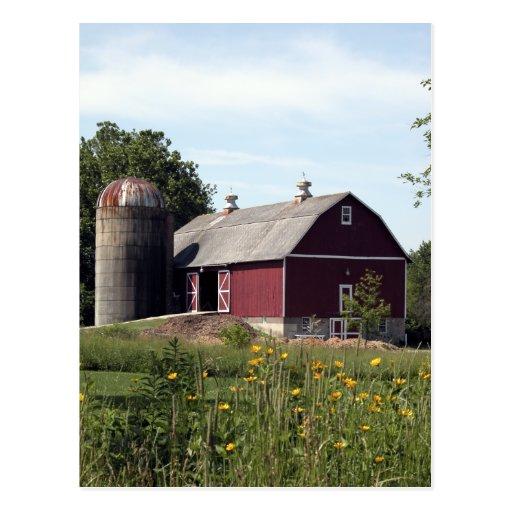Perfect Red Barn Postcard