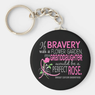 Perfect Rose 2 Granddaughter Breast Cancer Keychain