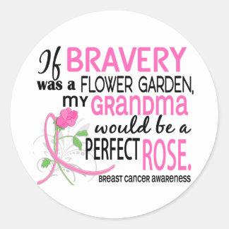 Perfect Rose 2 Grandma Breast Cancer Round Stickers