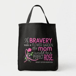 Perfect Rose 2 Mom Breast Cancer Grocery Tote Bag