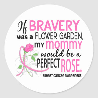 Perfect Rose 2 Mommy Breast Cancer Round Stickers