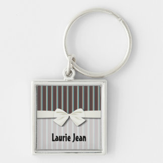 perfect stripes blue brown and creme Silver-Colored square keychain