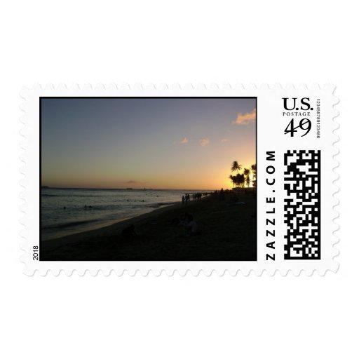 Perfect Waikiki Beach Sunset in Honolulu by Hilton Stamps
