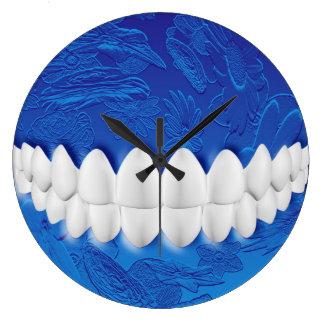 Perfect White Teeth Bite Dentist Blue Wall Clock