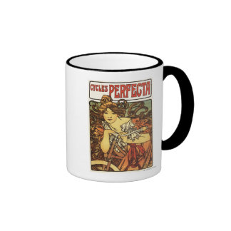 Perfecta Bicycles with Woman Advertisement Poste Mugs