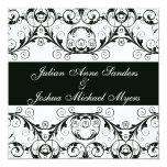 Perfectamente invitaciones blancos y negros del invitación 13,3 cm x 13,3cm